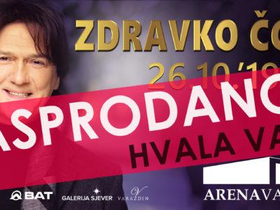Zvijezda domaće glazbene scene Zdravko Čolić rasprodao je koncert u varaždinskoj Areni zakazan za ovu subotu, 26. listopada!